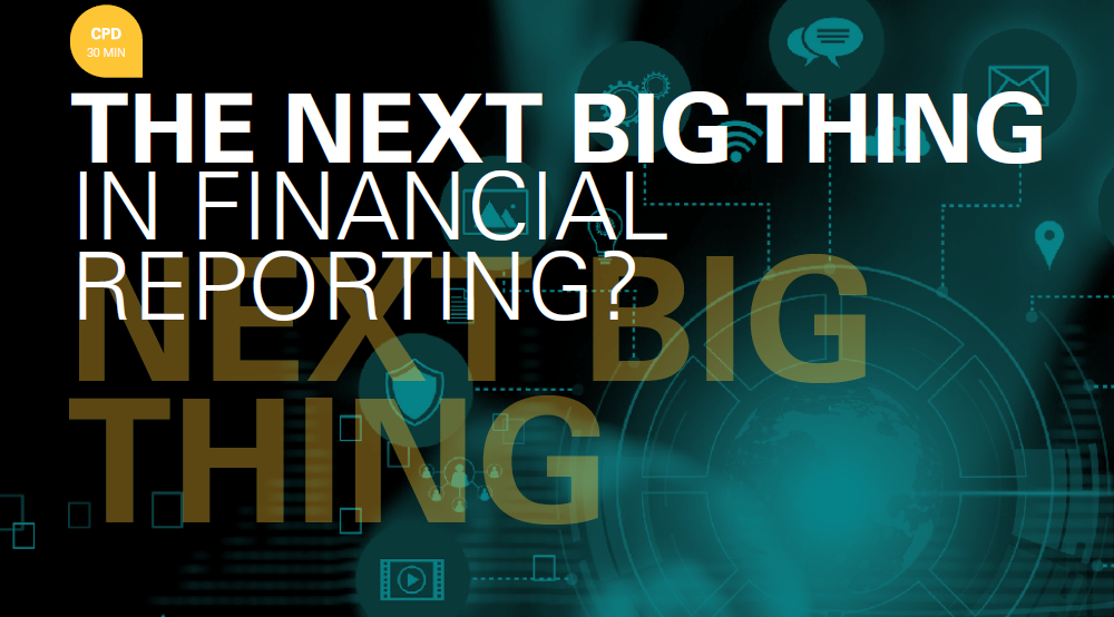 THE NEXT BIG THING IN FINANCIAL REPORTING?